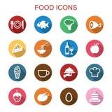 Food long shadow icons. Flat vector symbols Royalty Free Stock Photo