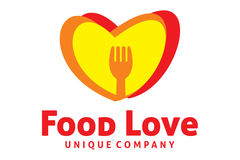 Food love logo. Logo design of food and love combination Stock Images