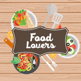 Food lovers illustration Royalty Free Stock Photography