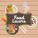 Food lovers illustration. Illustration with salad,pan,kebab Royalty Free Stock Photography
