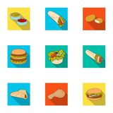 Food, lunch, fast and other web icon in flat style.Piello, cream, sauce, icons in set collection. Royalty Free Stock Photos