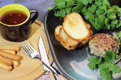 Food, lunch. Meat cutlet with toast, cilantro and parsley on a p stock photography