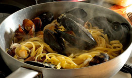 Spaghetti,Food,seafood ,lunch,dinner,mussels,clams Royalty Free Stock Image