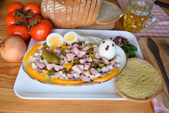 Food, Lyoner, Sausage, German Sausage Lyoner, Lyoner Salad, German Fleischwurst, German Sausage Lyonerring , Sausage Ring, Stock Image
