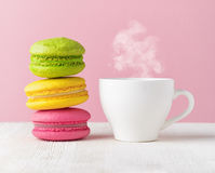 Macaron and cup of coffee Royalty Free Stock Photography