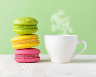 Macaron and cup of coffee Stock Photo