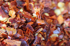 Food Macro: Red Hot Chili Pepper Flakes Stock Photography