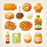 Food made from apples. Set of classic baked autumn meals that you can make from apples. Apples cooked down into juice, jam and alcohol. Vector illustrations of Stock Image