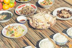 Food for make offerings to the spirits in Chinese new year stock photography