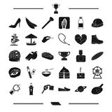 Food, make-up, entertainment and other web icon in black style. pregnancy, vegetable, medicine icons in set collection. Royalty Free Stock Photography