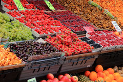 Food market. Lot of fruits on a food market Royalty Free Stock Image