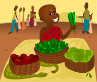 Food Market. Illustration of a young African tribe boy selling is garden food at a market stock illustration