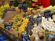 The Food Market. Mushrooms and funghi on a stall at the Mercat de la Boqueria, La Rambla, Barcelona, Spain Stock Photography