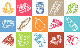 Food & market. Vector hand-drawn color icons Royalty Free Stock Photography