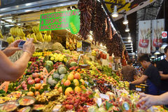 Food Market in Barcelona. Stock Photo