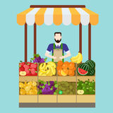 Food market fruit vector flat shop concept: salesman, sale. Food market fruit shop salesman sale process. Flat style modern professional job related icon man royalty free illustration