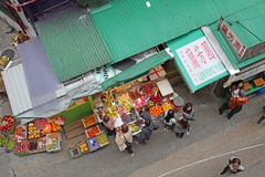 Food market in Hong Kong from above Royalty Free Stock Images