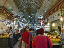 Food market in Jerusalem. Old fashioned ethnic food market in Jerusalem  is popular with both locals and tourists Royalty Free Stock Photos