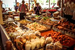 Food market in Koh Samui, Thailand. Grilled some Stock Photo
