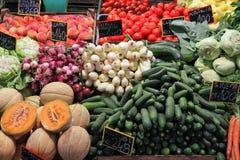 Food market place. Food market in Budapest, Hungary (Great Market Hall). Fresh produce marketplace royalty free stock image