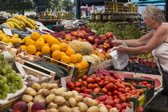 Food Market - Rovinj - Croatia. Early morning food market in the city of Rovinj in Croatia. The town is also know by its Italian name of Rovigno. Located on the stock photography