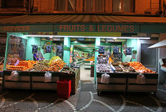 Food market in Saint Etienne, France. Local food and vegetable shop in Saint Etienne town, France. February, 2015 stock photos