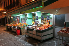 Food market in Saint Etienne, France. Local food and vegetable shop in Saint Etienne town, France. February, 2015 stock images