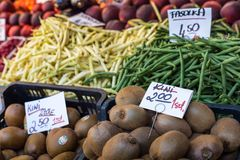 Food market stall with kiwi fruits, Poland. Royalty Free Stock Photography