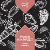 Food market template with lobster, oyster and mytilus. Stock Photography