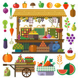 Food market. Vector flat vegetables and fruits. . Vector flat illustrations and icon set Royalty Free Stock Photo
