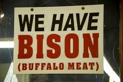 We have Bison. Food marketing signage at Farmers Market, St Louis, USA Stock Photo