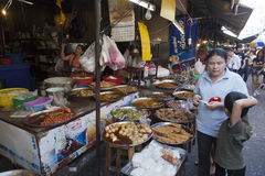 Food markets in Bangkok. Open-air markets and food stalls are among the most popular dining spots for Thais. In the mornings, stalls selling coffee and Chinese Stock Photography