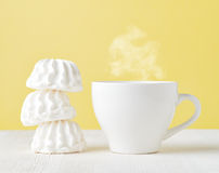 Marshmallow and cup of coffee Stock Images