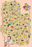 Food Maze Game. Solution in hidden layer! Royalty Free Stock Photography