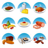 Food and meal icon set Royalty Free Stock Photos