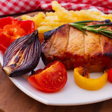 Food. Meat barbecue with vegetables Royalty Free Stock Photography