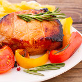 Food. Meat barbecue with vegetables Stock Photography