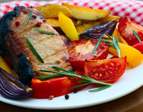 Food. Meat barbecue with vegetables Stock Photos