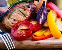 Food. Meat barbecue with vegetables Stock Images