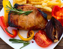 Food. Meat barbecue with vegetables Stock Image