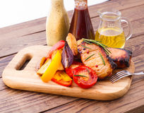 Food. Meat barbecue with vegetables Royalty Free Stock Photo