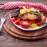 Food. Meat barbecue with vegetables Royalty Free Stock Images