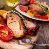 Food. Meat barbecue with vegetables Stock Photo