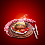 Food meat barbecue with vegetables on wooden Stock Photos