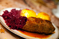 Food, meat, Beef olives, dumpling, red cabbage. Plate with Beef olives, dumpling, red cabbage Stock Image