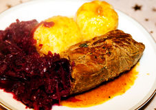 Food, meat, Beef olives, dumpling, red cabbage. Plate with Beef olives, dumpling, red cabbage Stock Photo