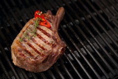 Food meat - beef steak on bbq barbecue grill no flame Stock Photography