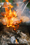 Food meat - chicken and beef on party summer barbecue grill Stock Photo
