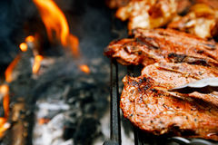 Food meat - chicken and beef on party summer barbecue grill royalty free stock image