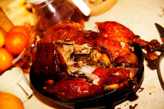 Food, meat, poultry, roast goose Stock Images